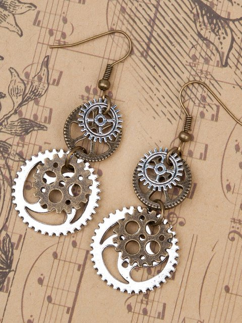 Dark Copper Alloy Vintage Earrings