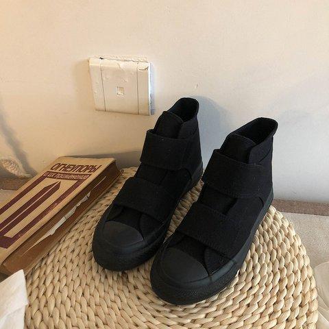 Black Flat Heel Canvas All Season Magic Tape Sneakers
