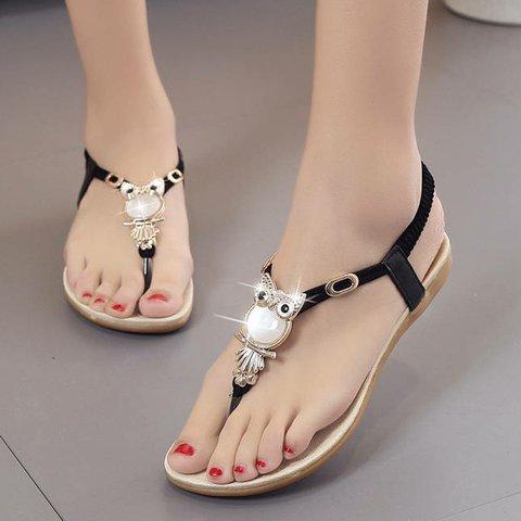 Clip-toed owl rhinestone button sandals