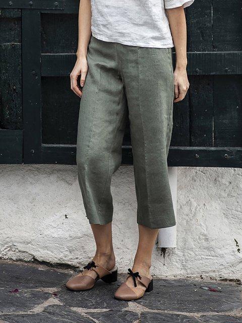 Casual Solid Linen Crop Pants