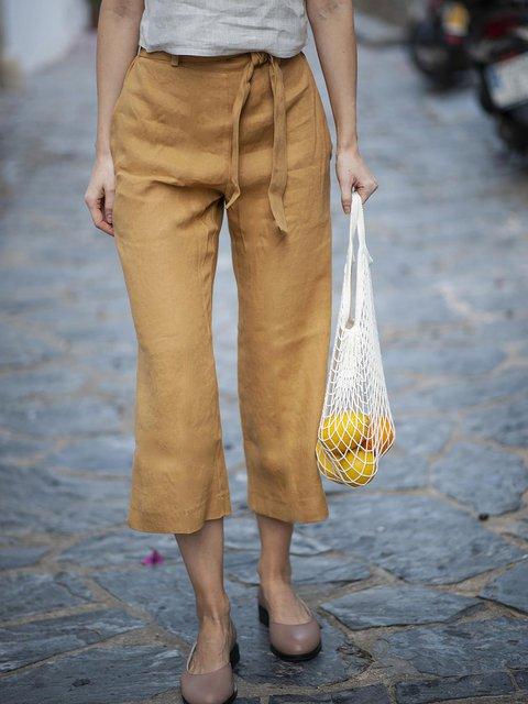Casual Loose Linen Crop Pants