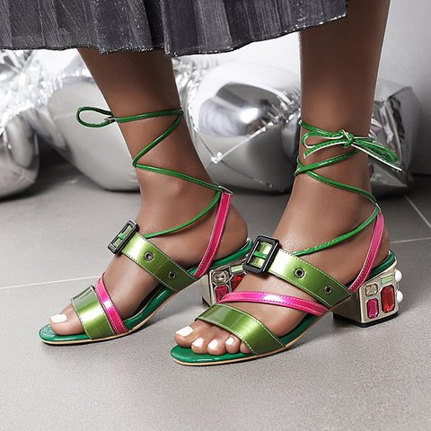 Lace-Up Chunky Heel Casual Sandals