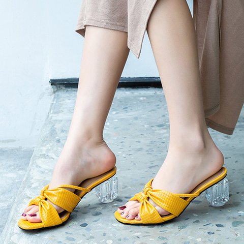 Open Toe Chunky Heel Elegant Slippers