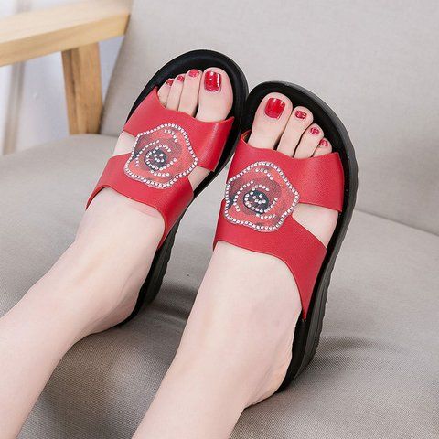 Plus  Size Artificial Leather Open Toe Slide Sandals Comfty Slippers