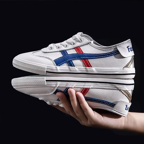 Leather Stitching Unisex Casual Sneakers
