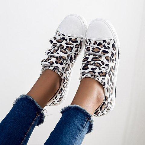 Leopard Velcro Canvas Flat Sneakers