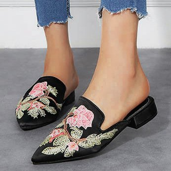 Embroidery Flat Heel Spring Flats