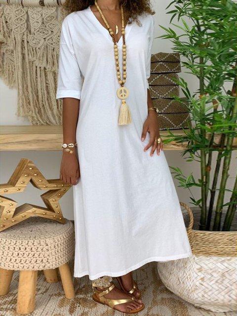 Casual Paneled V Neck Dresses
