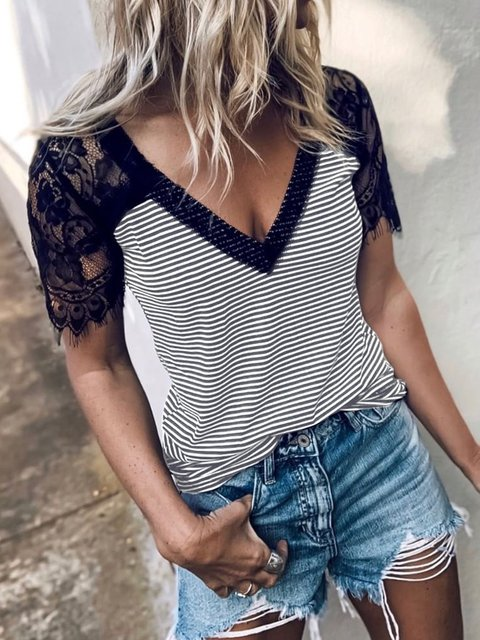 Striped Casual Short Sleeve Shirts & Tops