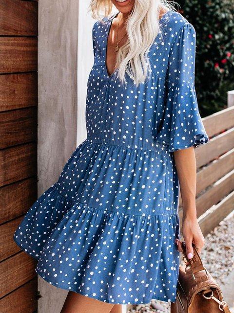 Shift V Neck Half Sleeve Dresses