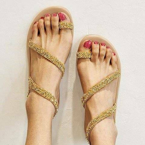 Gold toe-suit with rhinestone flats