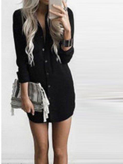 Casual Plain V neck Dresses