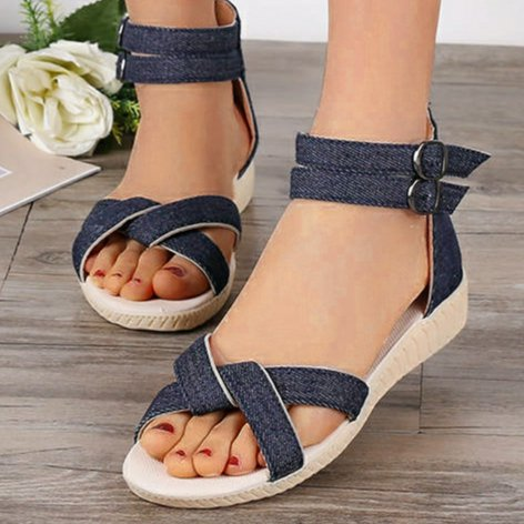 Slip-on sandals with wedges and denim toes