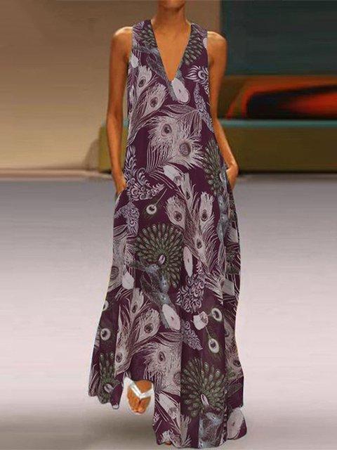 V Neck Casual Floral-Print 3/4 Sleeve Dresses