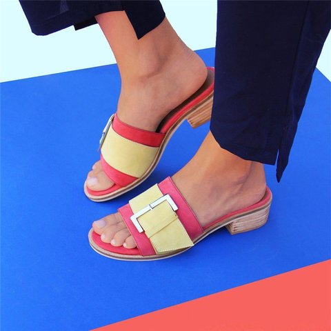 Buckle Low Heel Slide Sandals Vintage Slip-On Casual Mules