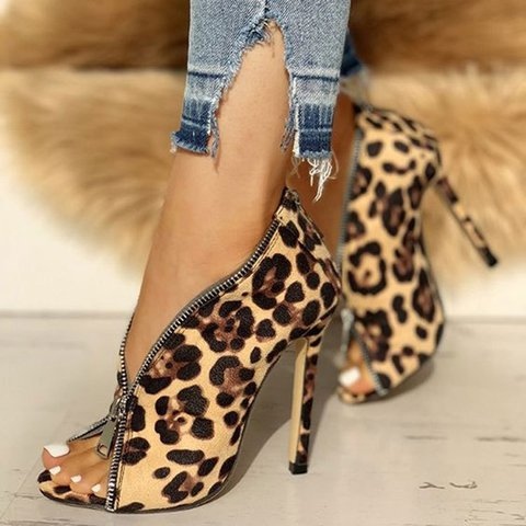 Artificial Suede Zipper Summer Open Toe Fashion Heels