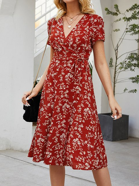 Orange V Neck Ruffled Casual Floral Dresses