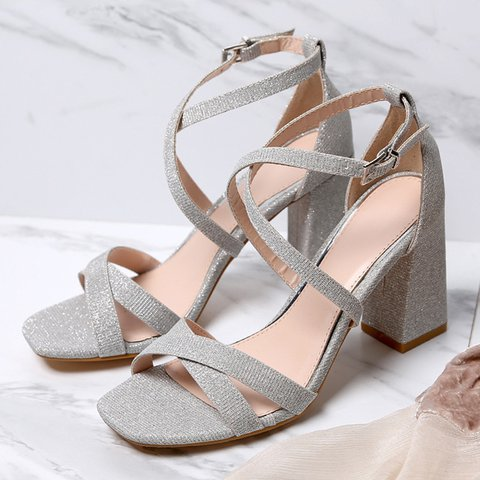 Women Casual Sequin Spring Pu Chunky Heel Buckle Sandals
