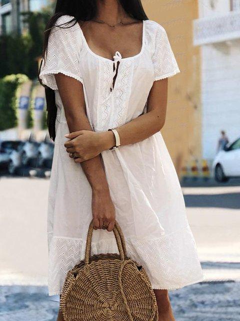 Solid Paneled Mini Dress Plus Szie Short Sleeve Dresses