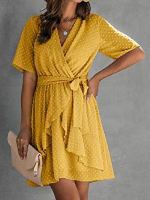 Stylish Jacquard Chiffon V-neck Lace Dress
