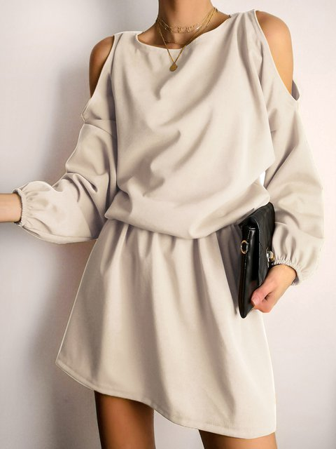 Women Cold Shoulder Elastic Waist Solid Casual Dresses