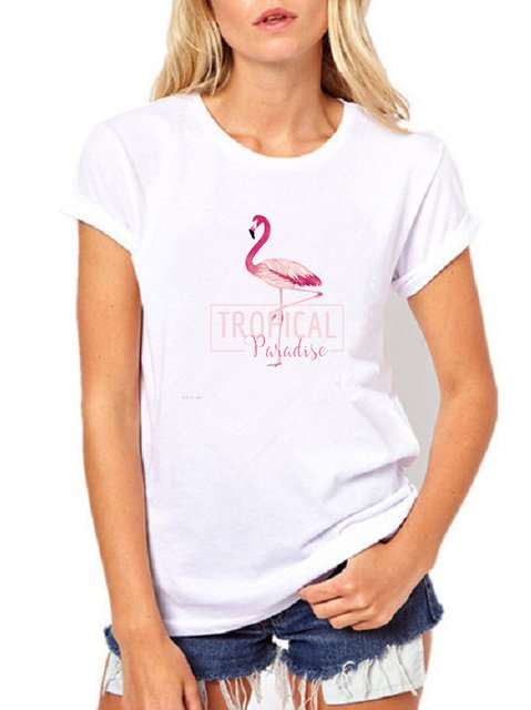Casual Cotton Flamingo Print T-Shirts & Tops