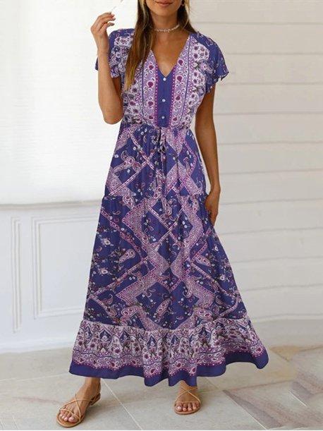 Floral-Print Short Sleeve Swing Beach Dresses