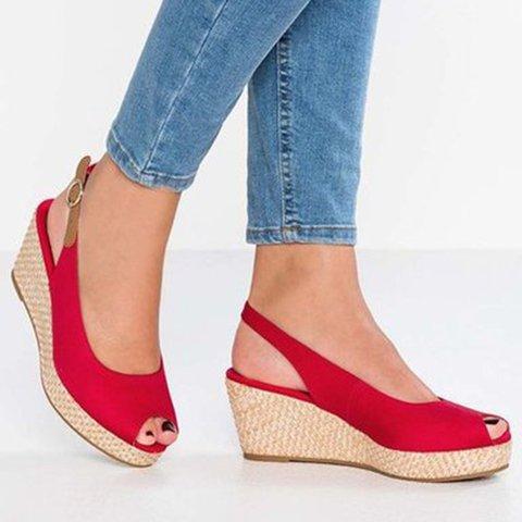 Women Wedge Heel Peep Toe Summer Pu Buckle Casual Sandals