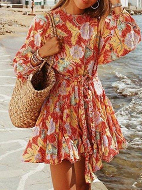 Stylish Printed Long Sleeve Dress