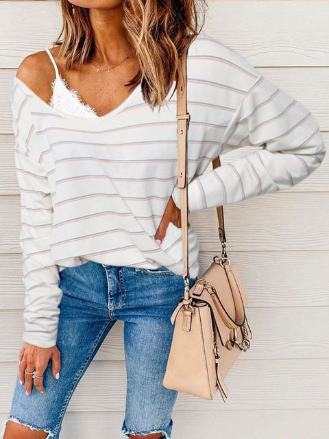 Color Striped Long Sleeve T-Shirt