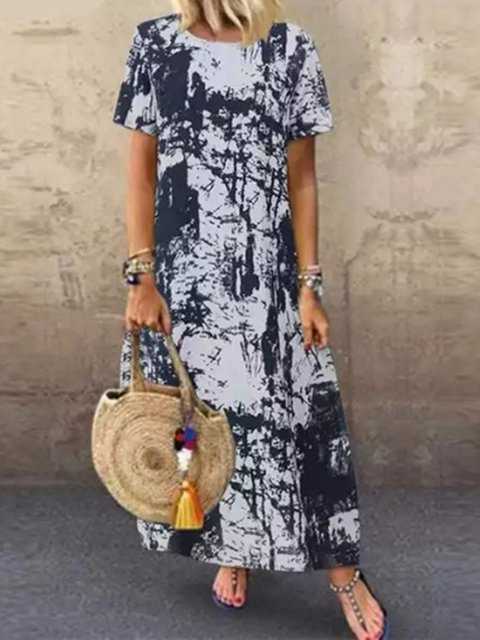Vintage Round Neck Cotton Linen Dress