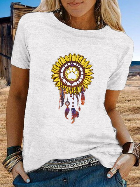 Vintage Short Sleeve Statement Sunflowers Printed Plus Size Casual Tops