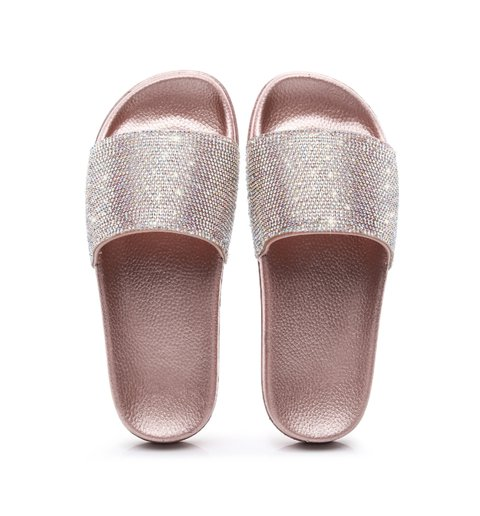 Women Artificial Leather Summer Rhinestone Slippers