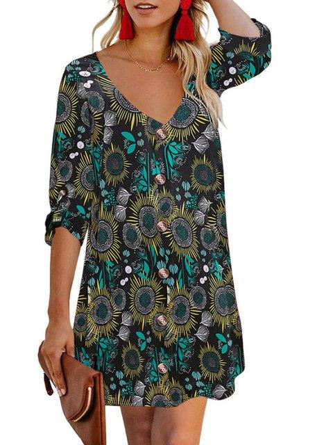 Floral 3/4 Sleeve Printed Dresses