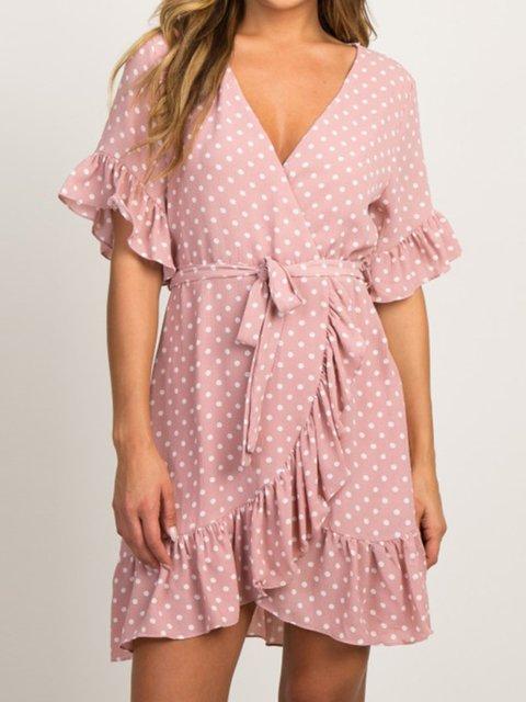 Casual Polka Dots V Neck Short Sleeve Dresses