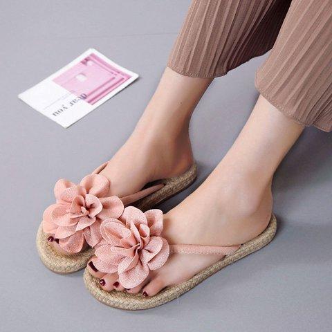 Flower Flat Heel Artificial Leather Summer Slippers