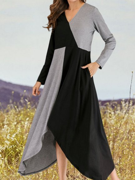 Vintage Color-block Plus Size Long Sleeve V Neck Casual Holiday Dresses