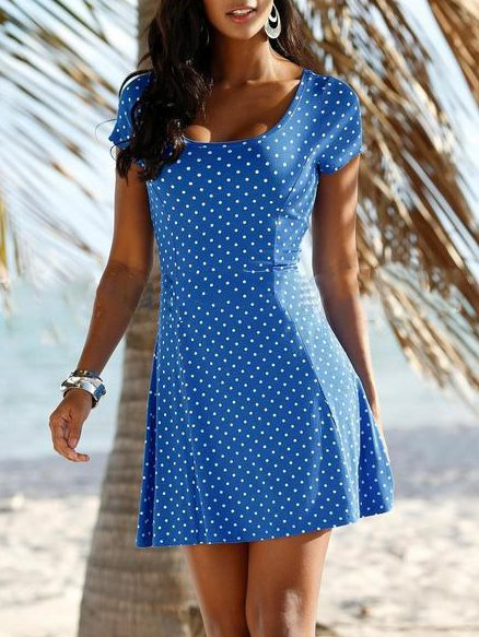 Polka Dots Cotton-Blend Casual Short Sleeve Dresses