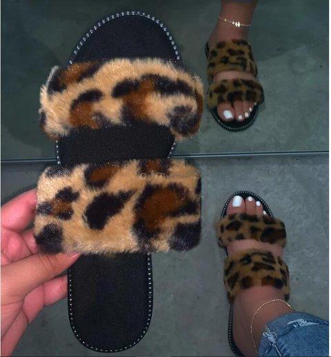 Peep Toe Leopard Faux Fur Slippers