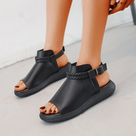 Adjustable Buckle Braided  Flat Heel Comfy Women Sandals