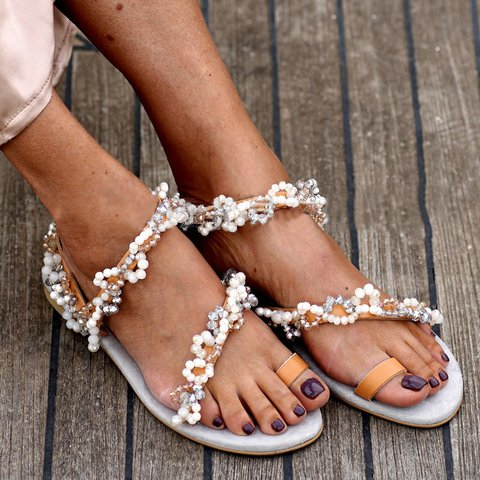 Tan Pearl Pu Flip-flops Slip-On Sandals