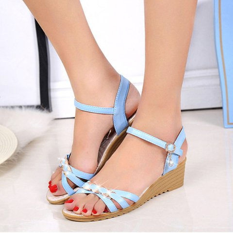 Artificial Leather Holiday Block Heel Buckle Sandals