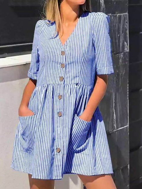Women Striped Caftan Pockets Buttoned Casual Dresses
