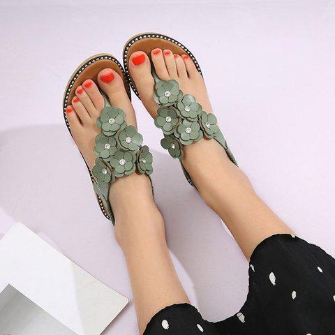 Flower Artificial Leather Flat Heel Sandals