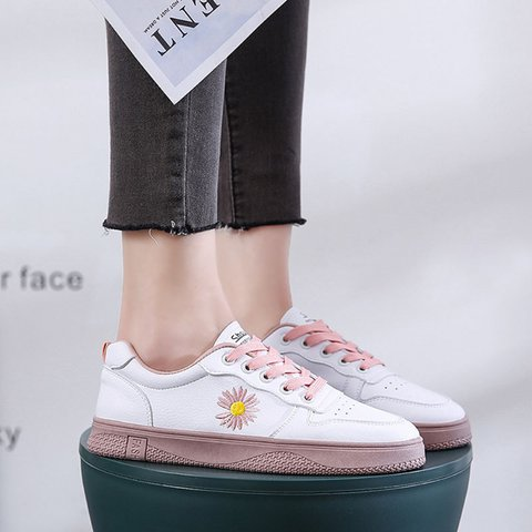 Artificial Leather Outdoor All Season Flower Sneakers