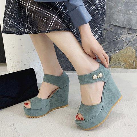 Women Peep Toe Magic Tape Artificial Suede Wedge Heel Sandals