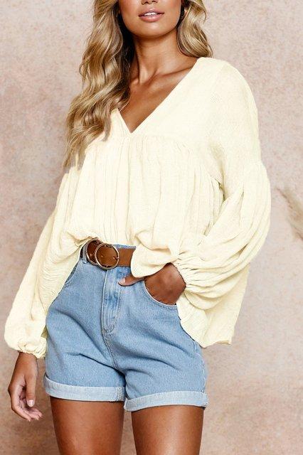 Apricot Cotton Long Sleeve Shirts & Tops