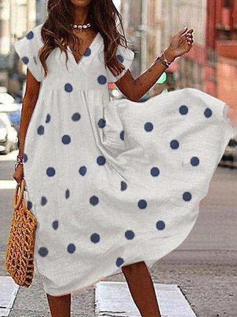 Casual Printed V-Neck Loose Dress