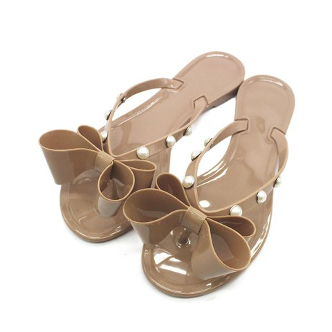 Summer Casual Pearl Bowknot Slippers