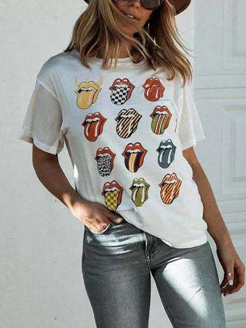 White Short Sleeve Abstract Printed Casual T-Shirts